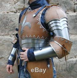16GA SCA Steel Medieval Half Body Lady Armor Suit Leather Punched Cuirass LARP