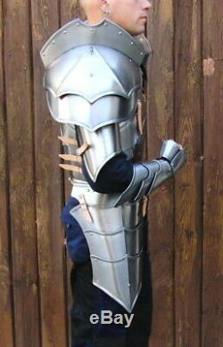18GA SCA Steel Medieval Half Body Plated Armor Suit Cuirass & Puldrons/Gauntlets