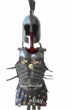 Black Muscle Armour Jacket Medieval Roman Cuirass Halloween Costume Style