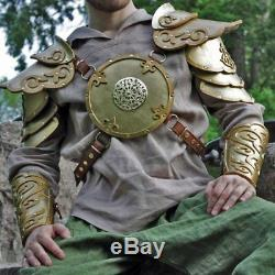 Elven Golden Leather Armor Set Breastplate with pauldrons medieval ostume