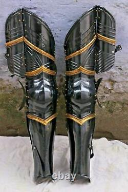 Fully Wearable Gothic Dark Medieval Knight Pair Of Leg Set Armor Greaves