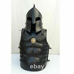 HELMET SPARTAN KNIGHT 300 MEDIEVAL ROMAN ARMOR SPARTAN COSTUME With MUSCLE JACKET