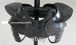Medieval ARMOR GOTHIC STEEL GORGET NECK ARMOR AND PAULDRON