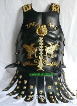 Medieval Chest Plate Muscle Leather Armor-Greek Roman Costume-Brass Dragon Dress
