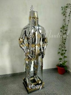 Medieval Costume Brass& Steel Suit Of Armour Wearable Crusader Combat Full Body