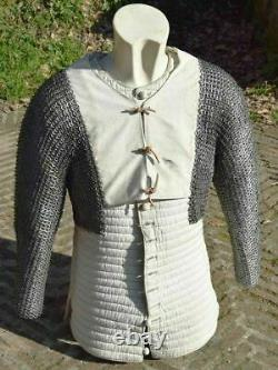 Medieval Gambeson With Chainmail Reenactment Roman White Color Fancy Style
