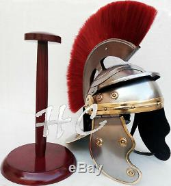 Medieval Historical Armor Roman Officer Centurion Helmet With Red Wooden Stand