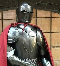 Medieval Knight Black full Suit of Armor with Shield & Cloak Wearable Costume v