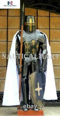 Medieval Knight Suit of Armor Sword, Shield, Cloak Combat Blackened Body Armourf