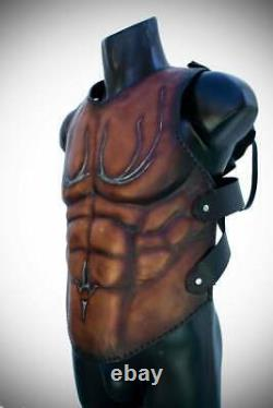 Medieval Muscle Breastplate leather half Cuirass Roman Armor bronze finished