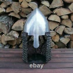 Medieval Nasal Helmet Orchowo With Aventail LARP Armor Warrior Costume