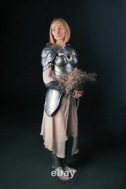 Medieval Pair Of Pauldrons & Metal Gorget Female Armor For Women Shoulder Knight