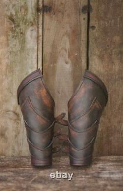 Medieval Pair of bracer leather armor for barbarian warrior Viking Cosplay