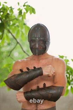 Medieval Pair of bracer leather armor for barbarian warrior Viking clothing