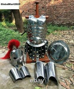 Medieval Roman King Leonidas 300 Spartan Helmet WithRed Plume + Muscle Body Armor