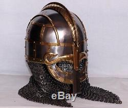 Medieval Steel Viking Vendel Helmet With Chainmail Hand Forged SCA/ Larp