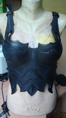 Medieval Warrior Lady Half Corset Dark Chest&Back Armor Leather Breastplate
