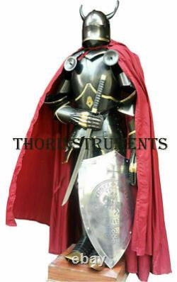 Medieval Wearable Full Suit of Armor Knight Gothic Suit with Horns, Shield