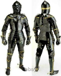 New Medieval Knight Suit Of Armor Combat Full Body Armour Costume Black shine