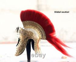 Pure Brass Praetorian Knight Roman Helmet With red plume available in Our store