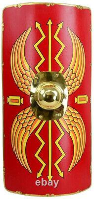 Roman Armour Shield Fully Functional Medieval Roman Scutum Red For Battle
