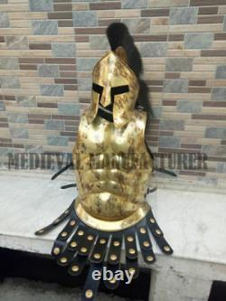 Roman Muscle Armor Jacket Brass Antique Medieval With Black Plume Helmet Replica