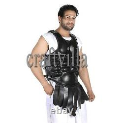Roman Muscle Breast Plate Medieval Armor Cuirass LARP Black for protective Gear