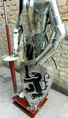 Wearable Steel Medieval Wearable Armor Knight Crusador Full Suit of Armour Stand