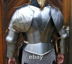 16ga Sca Steel Medieval Half Body Lady Armor Costume With Cuirass & Puldrons Set