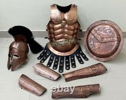 Medieval Veste Muscle Casque Grec Arme & Jambe Garde & Bouclier Armure Costume Complet